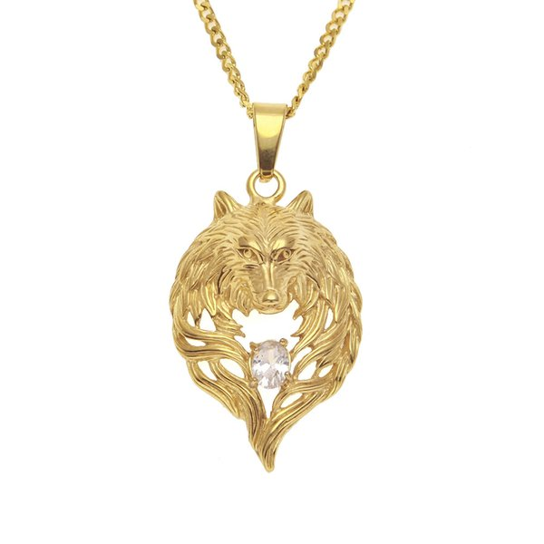 Designer Stainless Steel Gold Diamond Eyes Wolf Head Portrait Pendant Chain Necklace Mens Hip Hop Raper Personalized Jewelry Gifts for Men