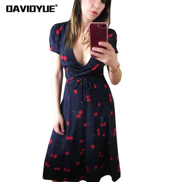 2018 elegante vestido de playa bohemio con estampado de cerezas vestido de verano para mujer Vestido de fiesta de manga corta sexy con cuello en v profundo Chica kawaii