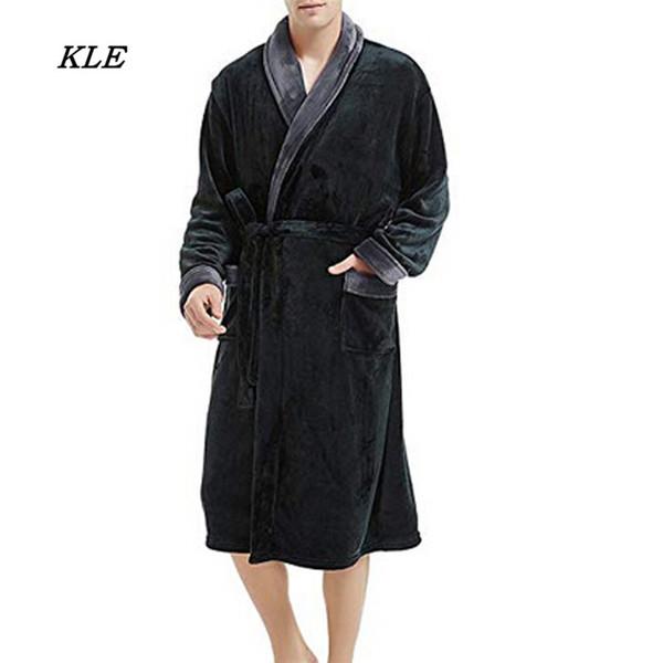 Sunfree 2019 New Men's Winter Lengthened Plush Shawl Bathrobe Home Clothes Long Sleeved Robe Fashion Coat 3L45