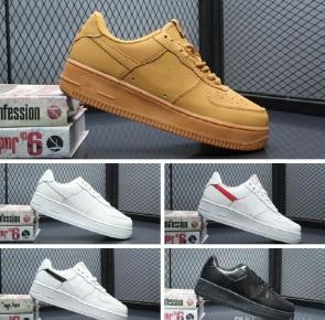 2019 Yüksek Kaliteli Moda Zorlama CORK afI Erkekler Kadınlar Bir 1 Koşu Ayakkabıları yüksek Düşük Kesim Tüm Beyaz Siyah Kahverengi Renk Rahat Sneakers Boyutu 36-45