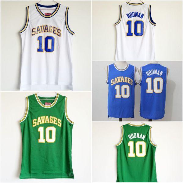 Oklahoma Savages 10 Dennis Rodman Maillot Homme Dennis Rodman Bleu Blanc Vert Maillot De Basket-ball Universitaire Cousu Shirt Universitaire