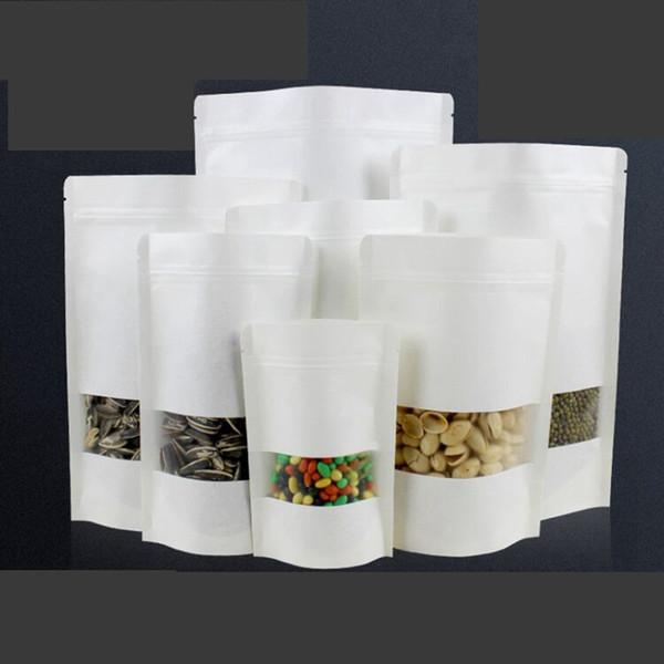 Kraftpapier Window Bag Zip Lock Aufstehen Geschenk Trockenfutter Früchtetee Verpackungsbeutel Weißer Reißverschluss Selbstdichtende Tasche TTA1754
