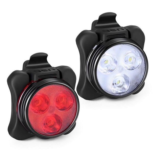 4 modos USB recargable Ciclismo Luz de bicicleta 3 LED Cabeza Frente Clip de cola Lámpara de luz Ciclismo exterior accesorios para bicicletas # 0621