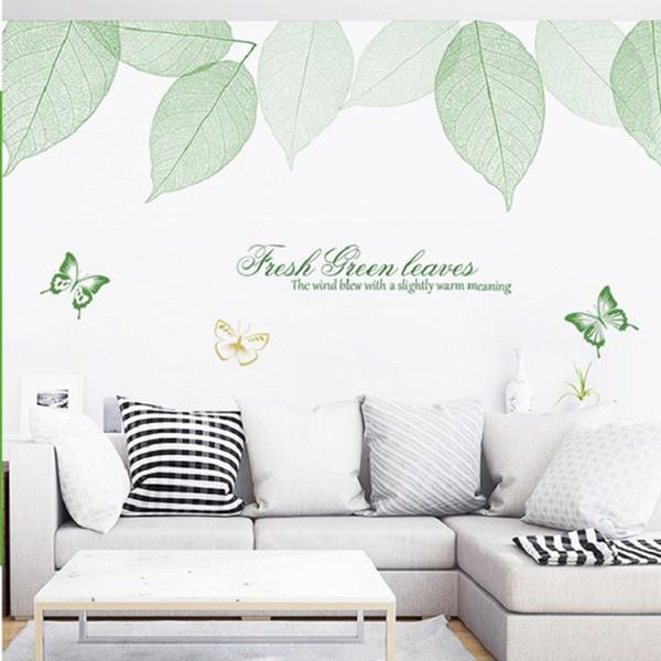 Großhandel Frische Grüne Blätter Schmetterling Wandtattoos Wohnzimmer  Schlafzimmer Wandbild Poster Kunst Extra Große Wand Applique Dekorative ...