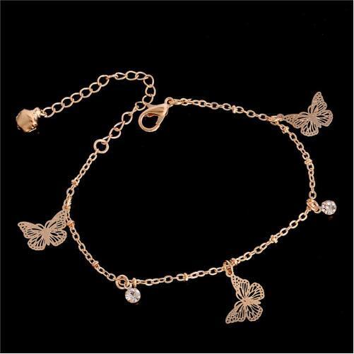 Doux Simple Forme De Papillon Cheville Bracelet Chaîne Ankel Beach Pied Sandale Diomedes pour Femmes Cadeau chaine cheville