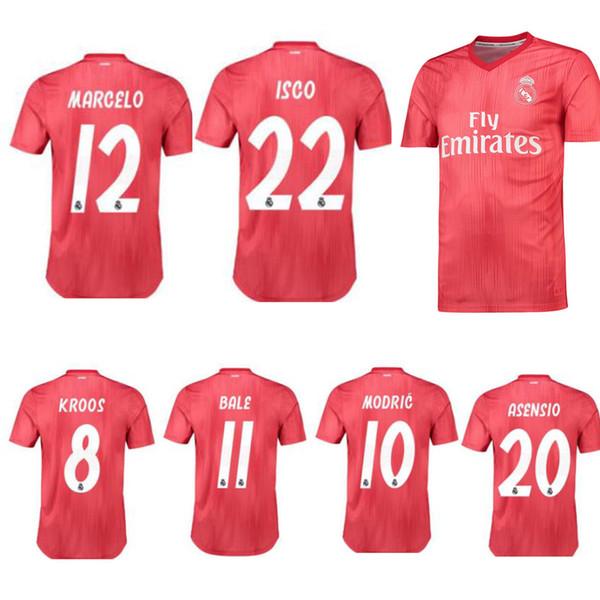 Nuove maglie da calcio rosse Real Madrid 3a vendita calda 18/19 Maglia Real Madrid terza maglia 2019 BALE Uniformi da calcio ASENSIO ISCO