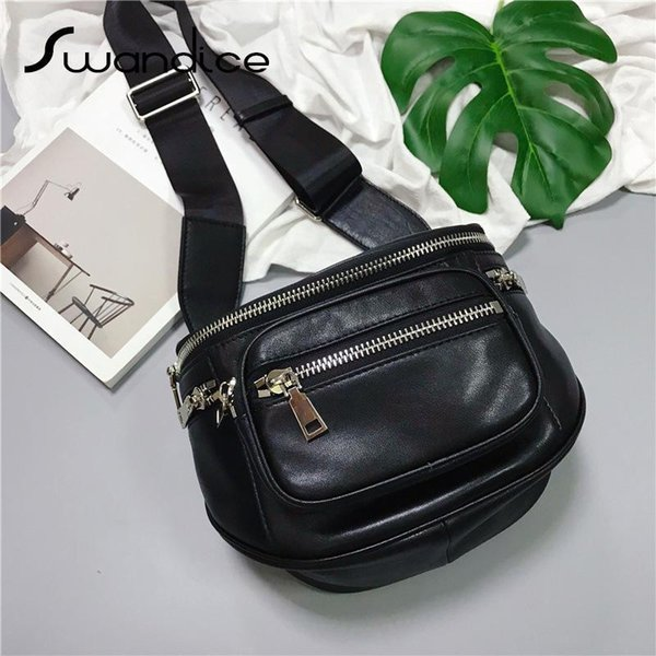 100% Real Genuine Leather Zipper Pocket Saddle Crossbody Shoulder Waist Chest Bum Belt Bags Packs Handbag Nice Women Female Chic