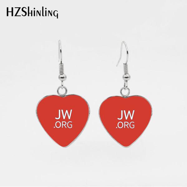 2019 New Coming Colorful JW.ORG Lovely Heart Hook Earrings Pendientes Cabochon de cristal de acero inoxidable Joyería