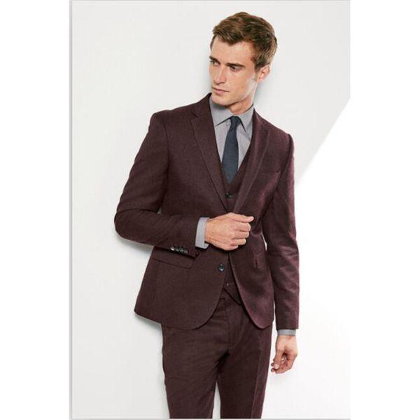 Latest Coat Pant Designs Brown Formal Men Suit Skinny Prom Blazer Simple Gentle Style Wedding Tuxedo Custom 3 Piece Jacket
