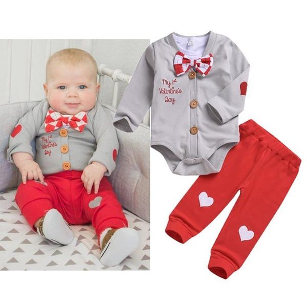 3pcs Boy Clothes Set Valentine Baby Boy Clothing Sets Infant Jumpsuits Gentleman Outfit Sets Bow Tie Shirt+coat+pants J190521