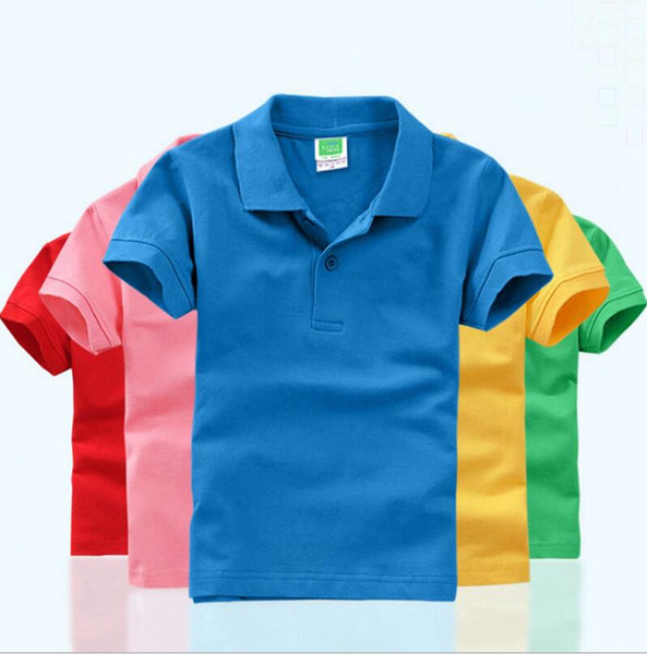 best selling Kids T Shirts DIY Short Sleeve Baby Boy POLOS Blank Baby Girls Shirts Monogrammable Children Tops Kindergarten Kids Outfits 10 Color YW2806L