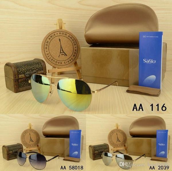 Best kaka fashion metal frog mirror sunglasses summer Outdoor sport sun glasses men women with original bag and case free shipping Pilot