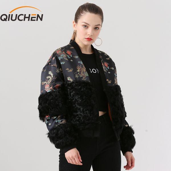 QIUCHEN PJ19052 2019 Nova chegada estilos chineses cordeiro jaqueta de ovelhas reais mulheres de pele Modelo de forma jaqueta de inverno