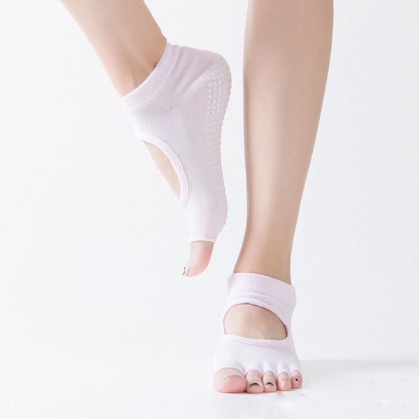 Quick-seco Five Fingers Metade Toe Ballet Meias antiderrapante Yoga Piso Sports Meias boa aderência Mulheres de algodão de Pilates Meias
