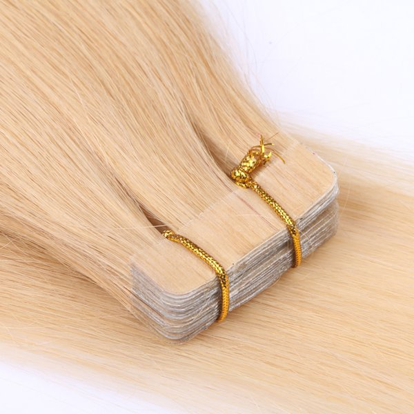 Full Cutcile Aligned Virgin Remy Hair Double Drawn Blonde 613 color 6-30 inch tape in hair extensions human