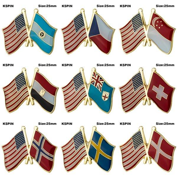 U.S.A Drapeau de l'amitié Badge Drapeau Broche Épinglette de revers Drapeau de la nation