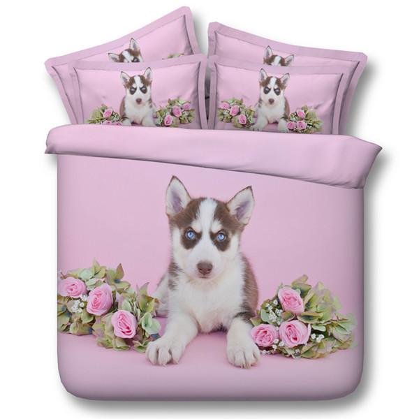 Juego de ropa de cama con estampado digital de huskies de color rosa Funda de edredón Juego de cama de diseño Bohemian a Mini Van Bedclothes 3pcs JF102