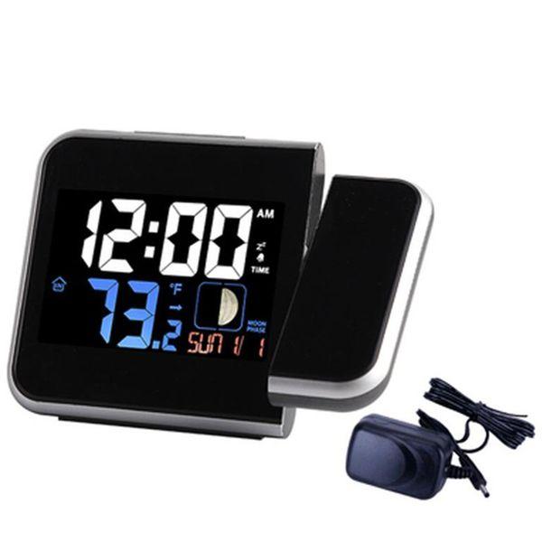 Projection Alarm Clock, Digital Clock Projector On Ceiling With Indoor/Outdoor Temperature Display, Dual Alarms, Snooze, Color