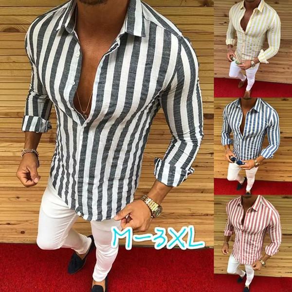 Camisa formal para hombre Hombres vestido a rayas Diseñador Casual Camisas de lujo Camisa de ajuste regular
