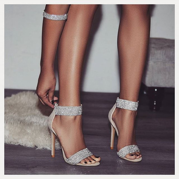 Sandale pompe poisson bouche chaussure sparkle diamant décoration femmes shopping occasionnels hauts talons une variété de styles et de couleurs