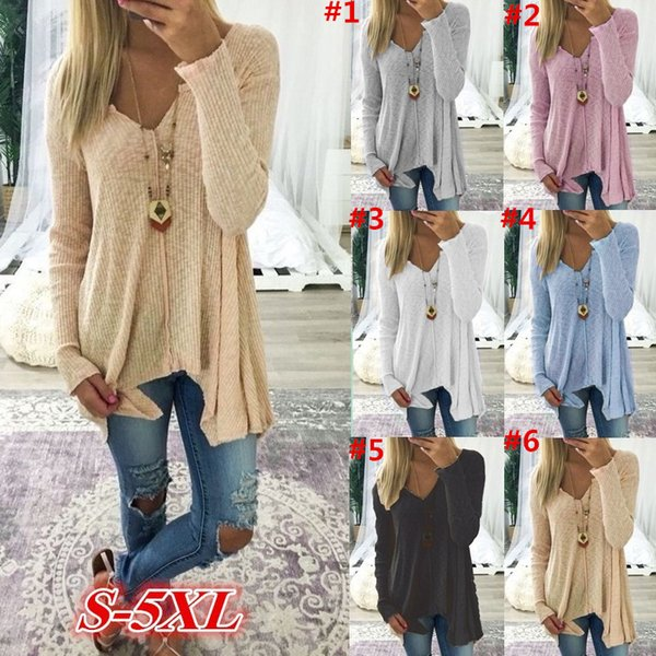 S-5XL Women Sweater Long Sleeve V-neck T Shirt Sweatshirt Spring Autumn Pullover Fashion Loose Sweaters Oversized Blouse Ladies Top Clothing