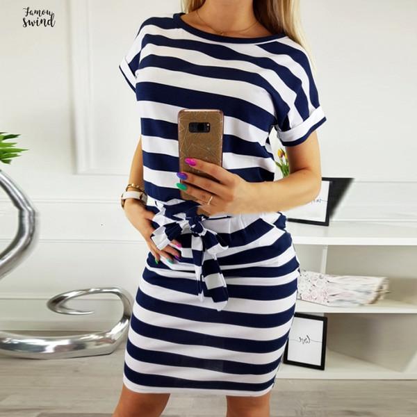 Лето 2019 Casual Женщины платье с коротким рукавом O шеи Полосатая сексуальное платье офиса платье Женщины Одежда Дизайнер одежды