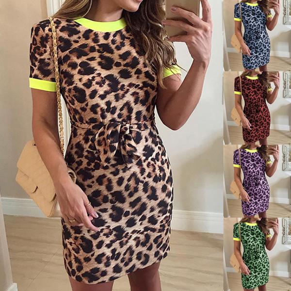 2019 Yeni Casual Leopar Baskı Diz Boyu Elbise Bayan Moda Kısa Kollu Elbise O-Boyun Slim Fit Jumper elbise vadim # C