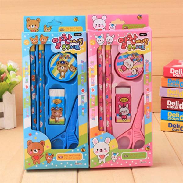 Канцелярский набор Подарочные коробки Творческий Детский день рождения подарок Мультфильм животных Карандаш Установить Cute Bear точилка для карандашей Ножницы Резинка 57