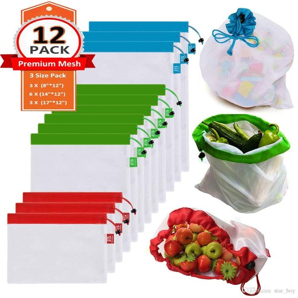 Set of 12 Reusable Mesh Produce Bags With Drawstring (3SIZE) Eco-Friendly Washable and See-Through - With Colorful Tare Weight Tags