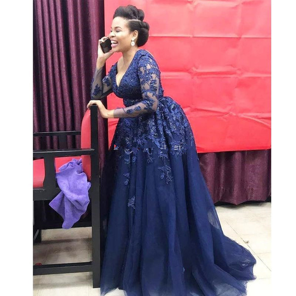 Plus Size Navy Blue A Line Mother of the Bride Dresses V Neck Long Sleeve Appliques Sequin Evening Dress Ruffles Skirt Formal Gowns
