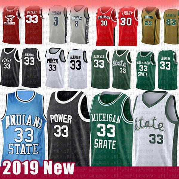 best selling Indiana Larry 33 Bird Kareem Abdul-Jabbar Earvin Johnson College Basketball Jersey State University of Michigan St. Joseph's high schooL MEN