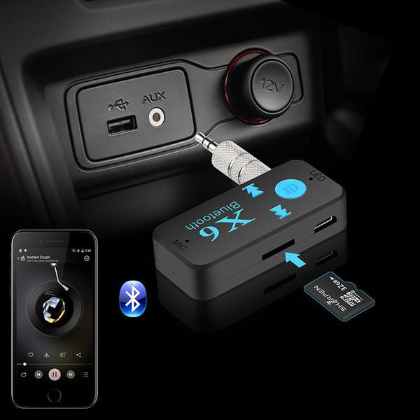 Wireless Car Kit Bluetooth 4,0 Adapter 3 in 1 USB Bluetooth Empfänger 3,5mm Audio Jack TF Kartenleser MIC Anruf Unterstützung für Auto