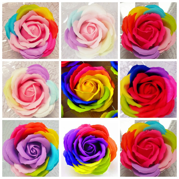 Artficial Flowers Rainbow Rose Soaps Flower Scented Toilet Soap Party Favor Wedding Decorations Bathroom Accessories 14 Designs YW3517