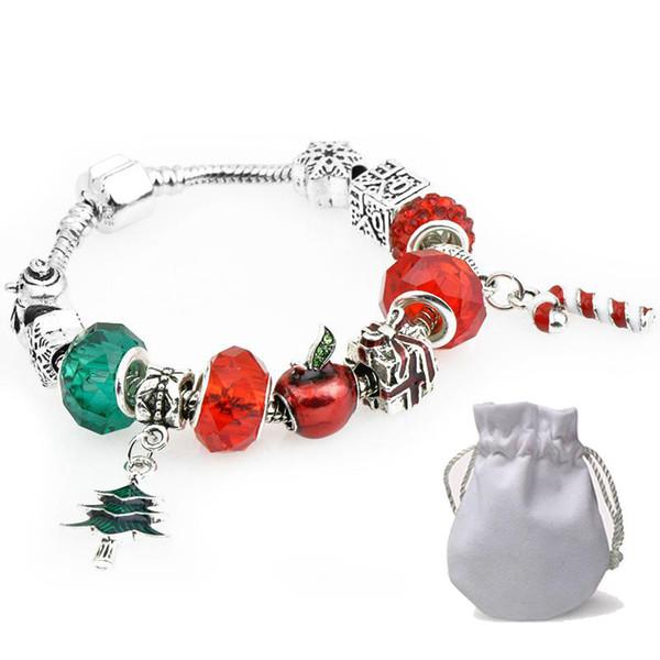 Fashion Xmas Tree Pendants Charm Bracelets Fit Pandora Boy Girls Snowman Apple Crystal Glass Beads Bangle Silver Jewelry Christmas Gift