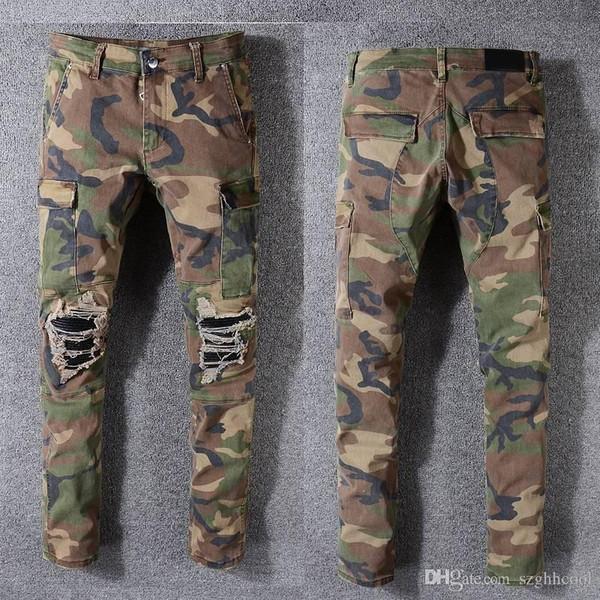 Herren Designer-Hosen Robin Felsen Studs Jeanshosen Designer Herren Designer Jeans Große Camouflage-Hosen Herren-Jeans