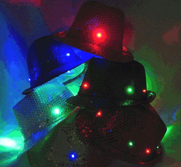 Fun Central LED Light Up Paillettes Fedora cappelli da festa a led Lampeggiante Accendi Led Fedora unisex Jazz Lampada hip-hop Cappello luminoso