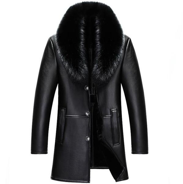 best selling 2018 winter NEW Men Genuine leather jacket mens sheepskin fur Coat male slim Business Casual Long jacket M-4XL
