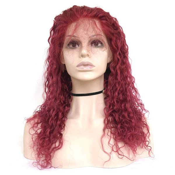 Burgundy Human Hair Wigs Virgin Peruvian Remy Human Hair Full Lace Wig Kinky Curly Lace Front Wig with Baby Hair #99j