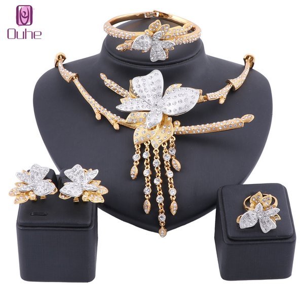 Bridal Gift Nigerian Wedding Tassel Necklace Earring Ring Bangle Jewelry Fashion Dubai Crystal Costume Design Flower Jewelry Set