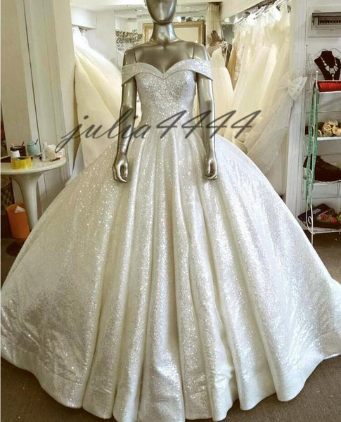 Modest Sleeveless Ball Gown Wedding Dresses 2019 Arabic Off Shoulder Bling Bling Bridal Gowns With Court Train Plus Size Maternity Dress