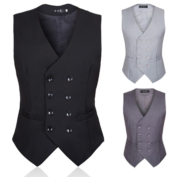 2019 New Enhance The Autumn Men Suit Armor British Style And Korean Version Of Black Double-Breasted Body-Shaping Men Suit Waistcoat
