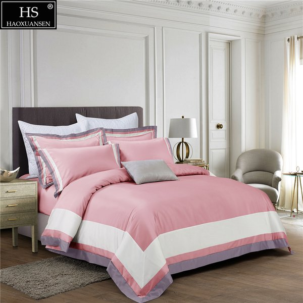 100S Egyptian Cotton Pink Light Blue White Luxury Bedding Set 4Pcs King Queen Bed Sheet Set Duvet cover Pillow shams DEEP Pocket