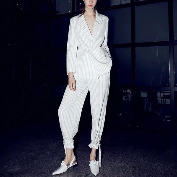 Calças das mulheres ternos trespassado terno trespassado terno de duas peças (jaqueta + calça) terno solto casual moda feminina
