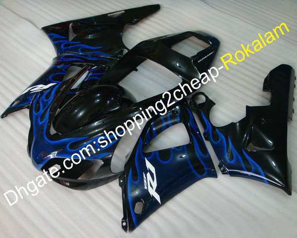 98 99 YZF-R1 Motorbike Fairing For Yamaha YZFR1 1998 1999 YZF1000 R1 ABS Plastic Blue Flame Black Body Cowling Fittings (Injection molding)