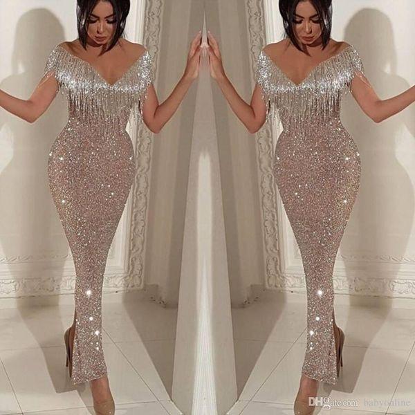 2019 Shiny Sequins Mermaid Prom Dresses Elegant Off Shoulder Tassel Evening Gowns Trumpet Ankle Length Split Cocktail Party Gowns