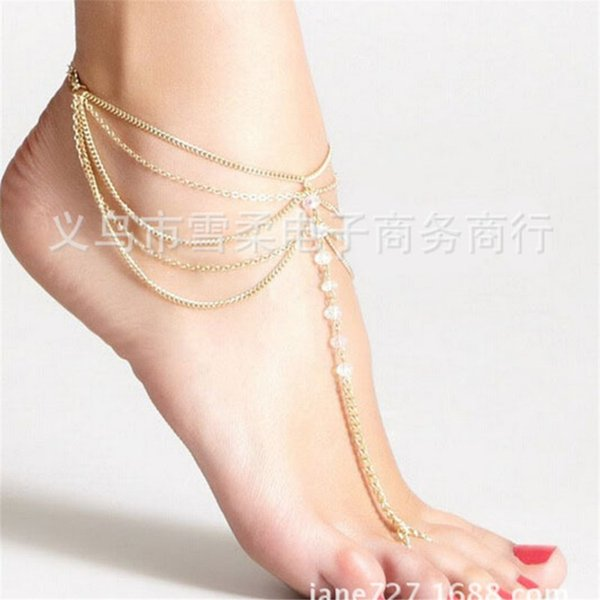 foot anklet New Beach Barefoot Sandal Jewelry Elegant Bride Sexy Women's Fashion Charm Layer Chain Link Crystal Beads Foot Anklet Bracelet