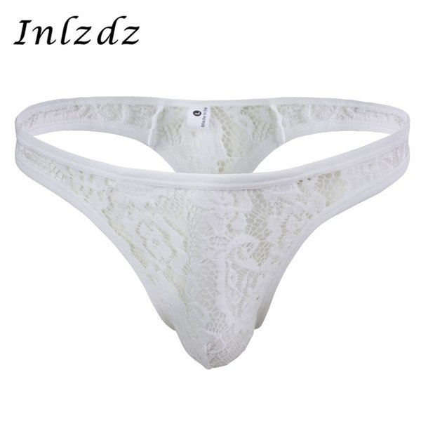 Hot Sexy Gay Underwear Mens Bikini G-String Thong Briefs Ropa interior Hollow Flower Pattern Lace Semi-See Through Thong Bragas