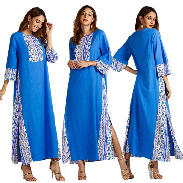İslam Moda Kadınlar Kimono Kollu Mavi Patchwork Elbise Kontrast Renk Dubai Malay Jilbab Müslüman Ramazan Giyim