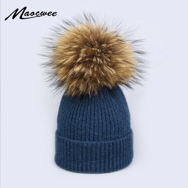 2018 Natural Raccoon Fur Pompon Hat Thick Winter for Women Cap Beanie Hats Knitted Cashmere Wool Caps Female Skullies Beanies S18120302