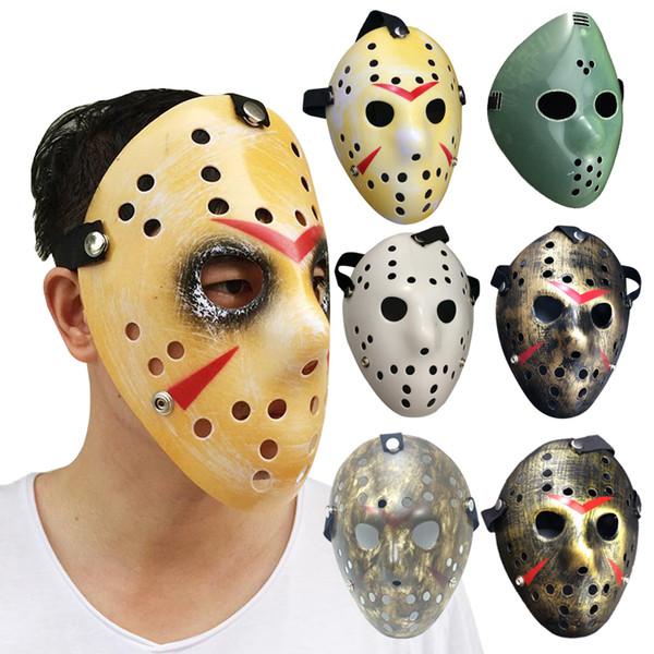 Máscara de Jason Mask, Arcaísta, Máscara de asesino de antigüedades de cara completa, Jason vs viernes, 13ra. Prop. Horror, Hockey, Disfraz de Halloween, Máscara de cosplay en stock
